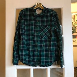 Blue and green plaid cotton flannel shirt